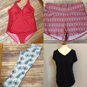 Lot of 4 Pc Maternity-Bathing Suit Shirt Pants Etc